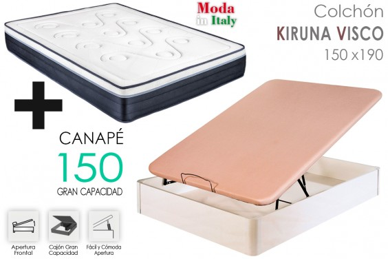 PACK Canapé + Colchón KIRUNA VISCO 150