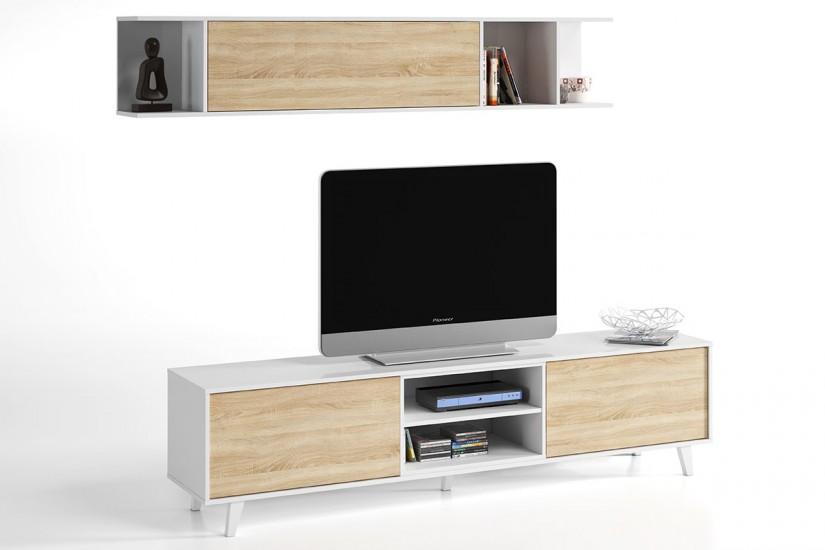 Mueble de salón – comedor ZAIKEN PLUS en color Roble Canadian y ...