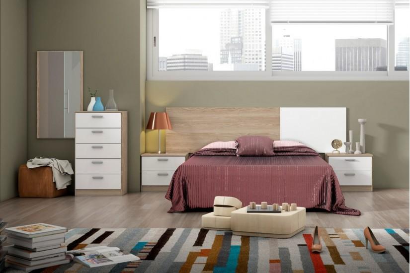 Dormitorio couple cabecero 2 mesitas con 2 cajones al - Cabezal dormitorio matrimonio ...