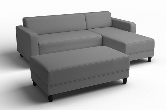 Chaiselongue ERIDAN + POUFF Gris Reversible