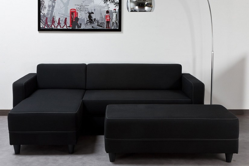 Sofá Chaiselongue de Diseño 3P reversible + Banco en color NEGRO on table sofa, bookcase sofa, fabric sofa, couch sofa, settee sofa, pillow sofa, glider sofa, lounge sofa, beds sofa, bench sofa, futon sofa, recliner sofa, ottoman sofa, bedroom sofa, chair sofa, divan sofa, art sofa, cushions sofa, storage sofa, mattress sofa,
