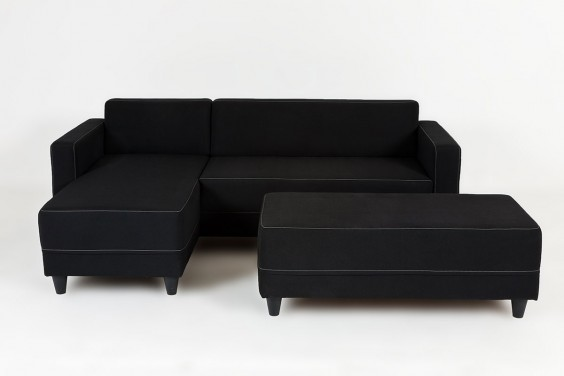 Chaiselongue ERIDAN + POUFF Negro Reversible