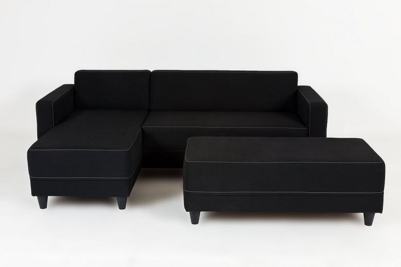 1 unique sofa chaise longue polipiel negro sectional sofas for Sofas cheslong baratos
