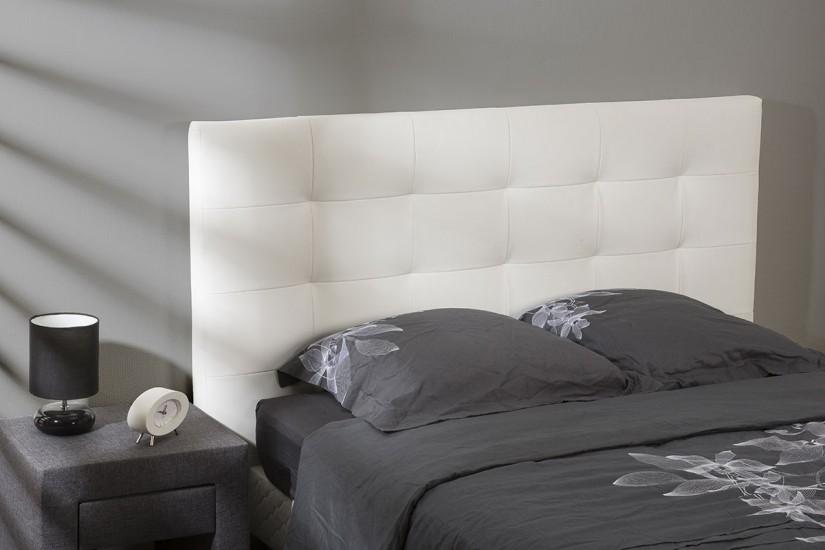 Cabecero capitone tapizado en piel sintetica de color - Cabeceros de cama blancos ...