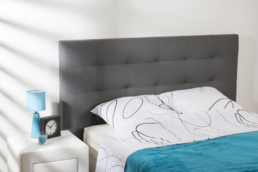 Cabecero capitone tapizado en piel sintetica de color gris - Cabeceros de cama capitone ...