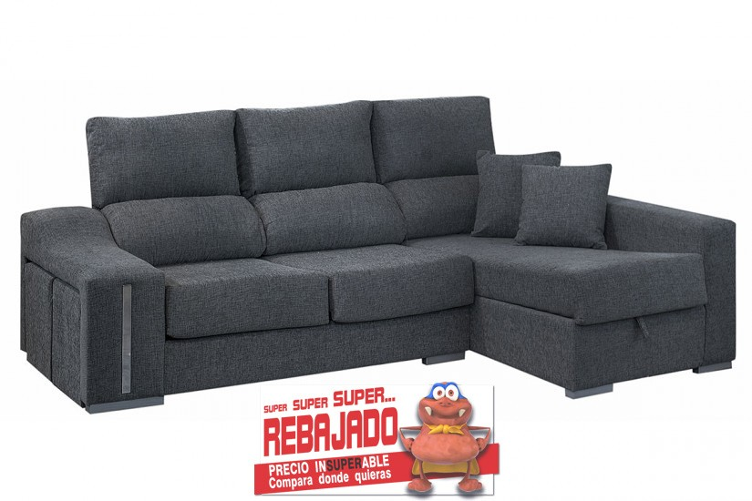 Sof chaiselonge oscar en color gris al mejor precio for Sofas al mejor precio