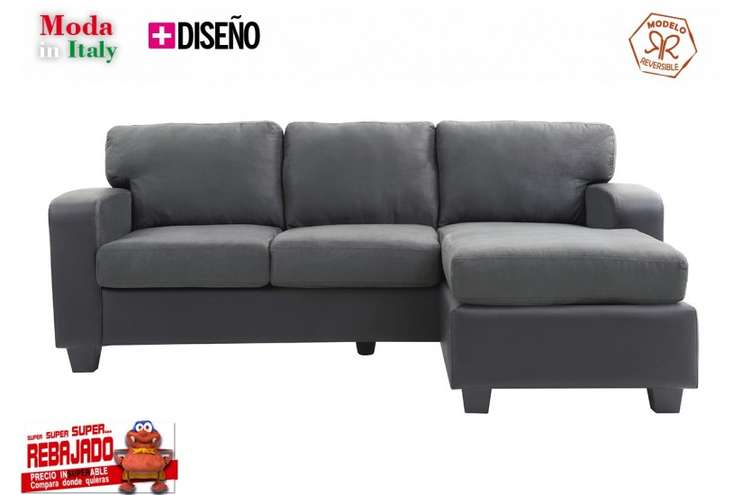 Sof chaiselongue de dise o 3p reversible en color gris for Sofas al mejor precio