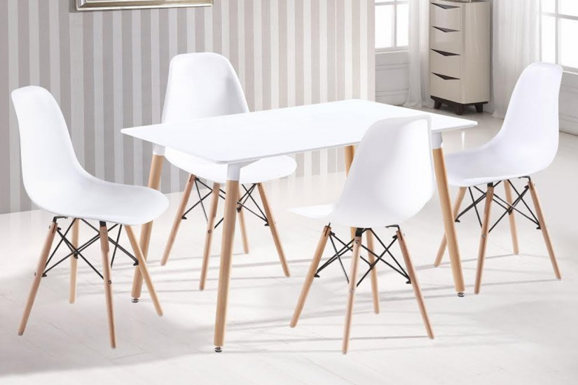 Moderna mesa fija de sal n de 130x80 con patas en color for Mesa salon blanca