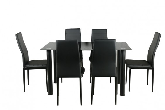 PACK Mesa + 6 Sillas SHADE1 Negro