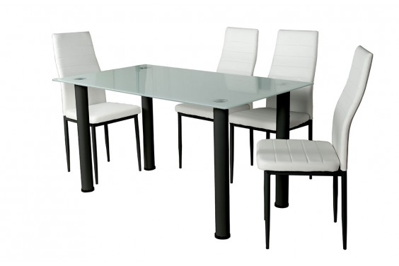 PACK Mesa + 4 Sillas SHADE1 Blanco y Negro