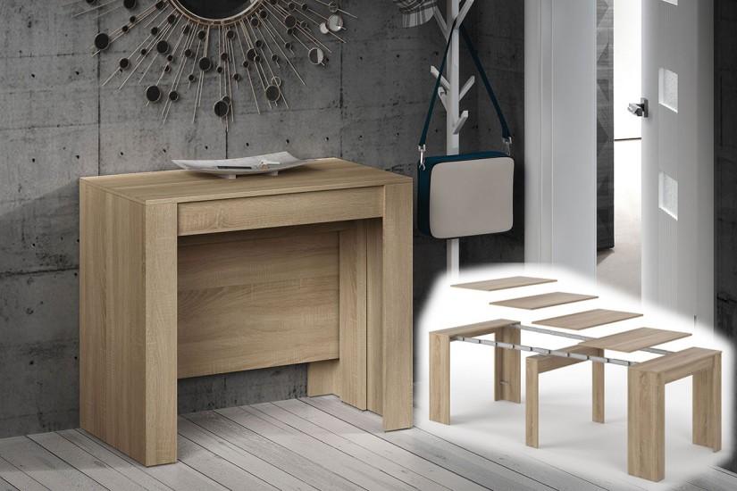 Mesa consola comedor extensible 4 en 1 de c nsola a mesa for Mesa salon extensible
