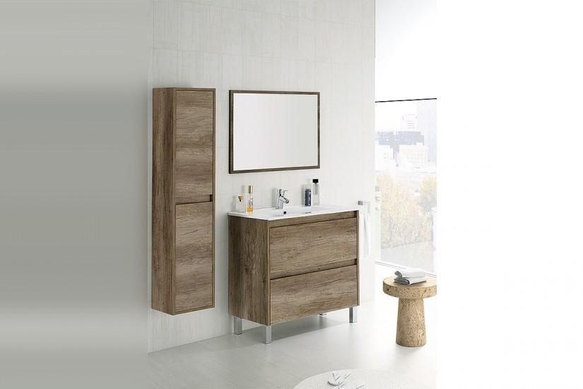 Mueble de ba o 80 cm con 2 cajones en color roble nordik for Mueble espejo bano ikea