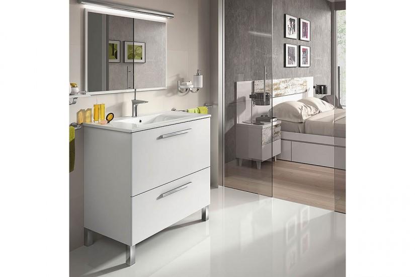 Mueble de ba o 80 cm con 1 puerta y 1 caj n en color for Mueble espejo bano