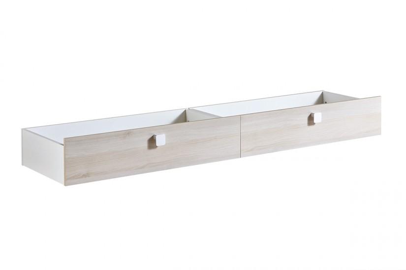 Conjunto 2 cajones bajo cama game en acacia y blanco - Cajones bajo cama ...