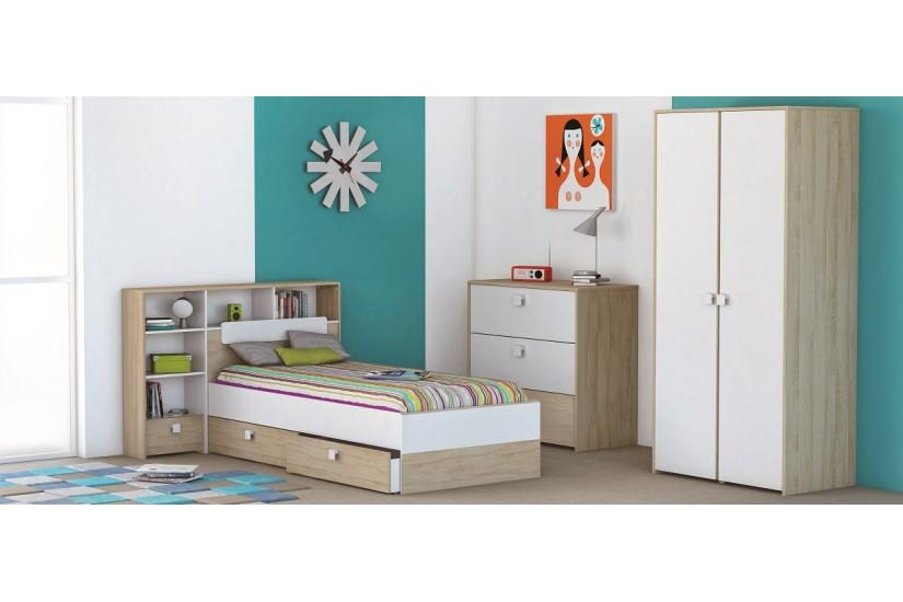Conjunto 2 cajones bajo cama GAME en Acacia y Blanco