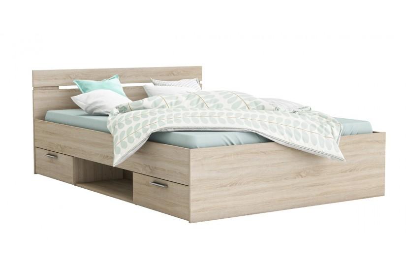 Cama de 2 cajones 1 hueco de 140x200 en color roble cepillado al mejor precio - Estructura cama cajones ...