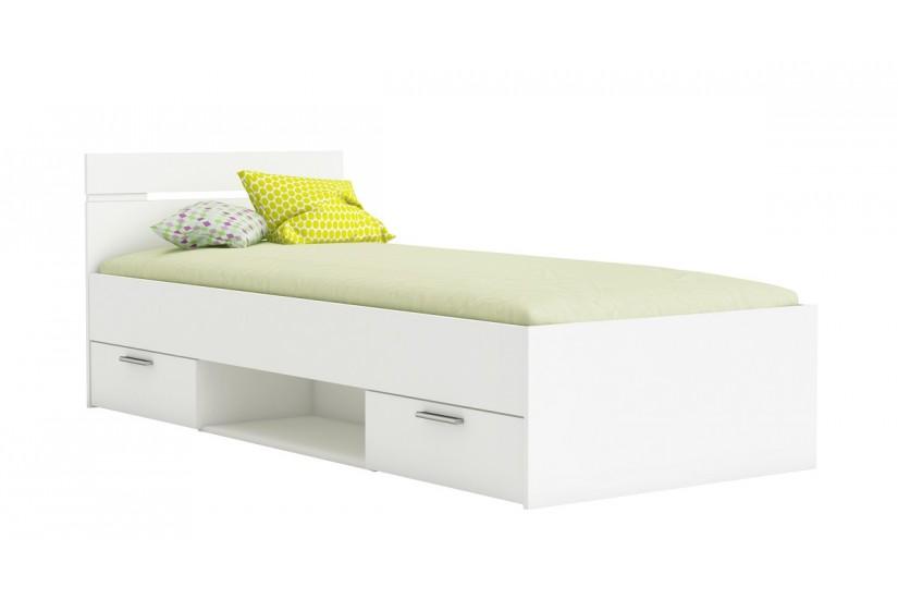 Cama de 2 cajones 1 hueco de 90x200 en color blanco al mejor precio - Estructura cama cajones ...