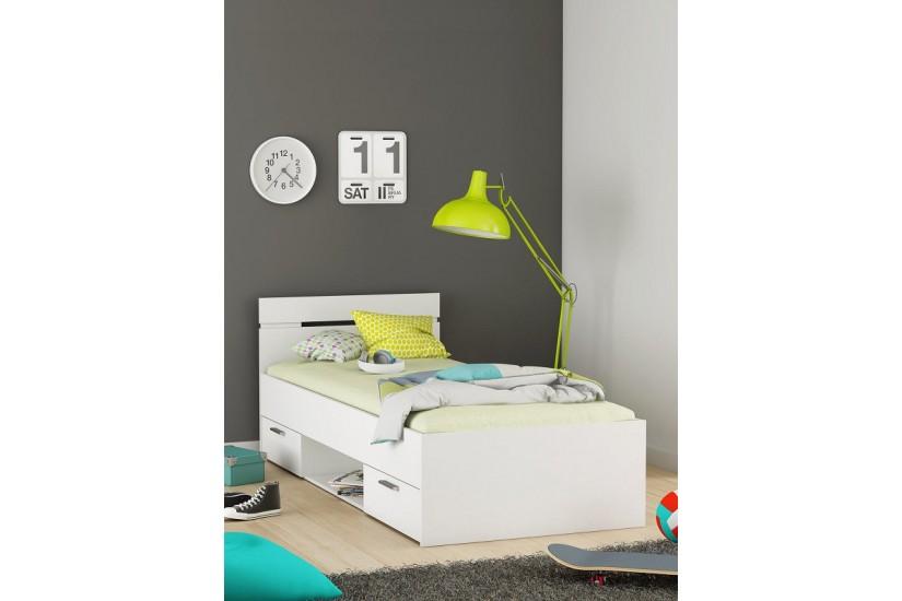 Cama de 2 cajones 1 hueco de 90x200 en color blanco al for Camas con cajones baratas