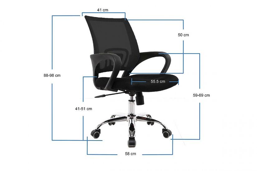 Silla de oficina ergonómica con patas metálicas cromadas