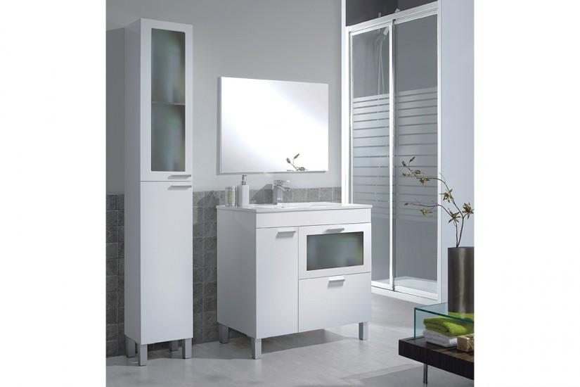 Muebles cristal mueble tv brady mdf lacado blanco u - Mueble bano blanco ...