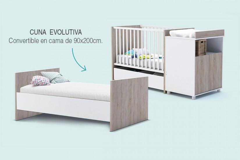 Cuna evolutiva joy cuna convertible en cama caj n bajo for Cuna con cambiador