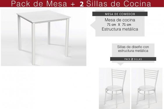 Pack de Cocina (Mesa + 2 sillas)