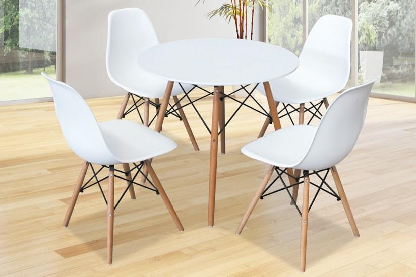 Moderna mesa redonda fija de sal n de 80x80 con patas en for Mesa salon blanca