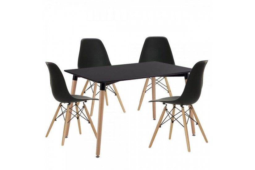Moderna Mesa fija de salón de 130x80 con patas en color haya al ...