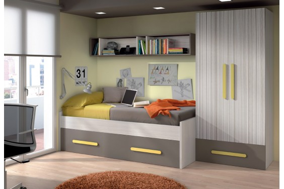 Cama doble juvenil theo con somieres for Cama doble ikea