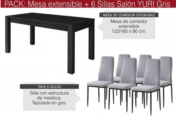 PACK Mesa KENT + 6 Sillas YURI Gris/Negro