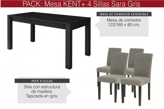 PACK Mesa KENT + 4 Sillas SARA Gris