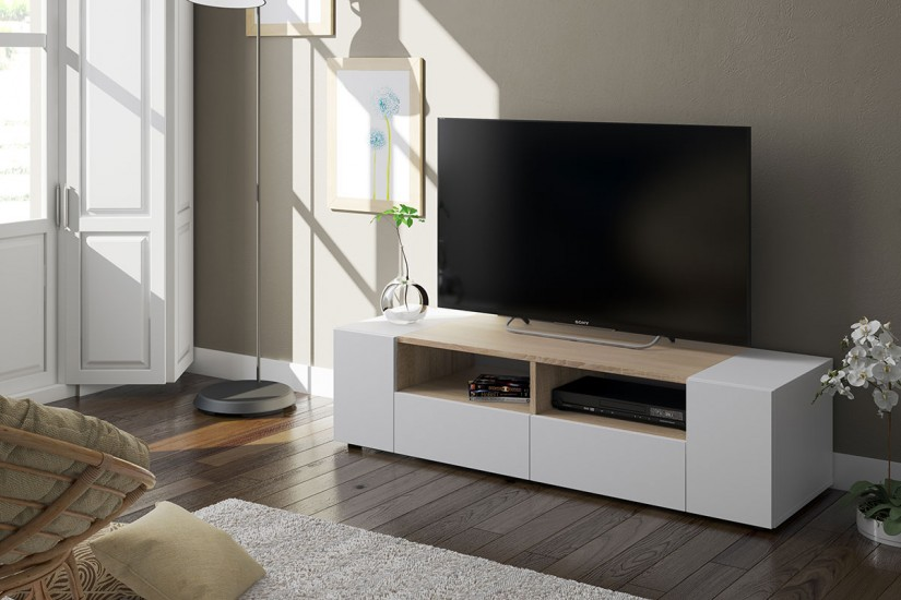 Mueble sal n tv tamiko de colores blanco y roble canadian for Mueble salon television