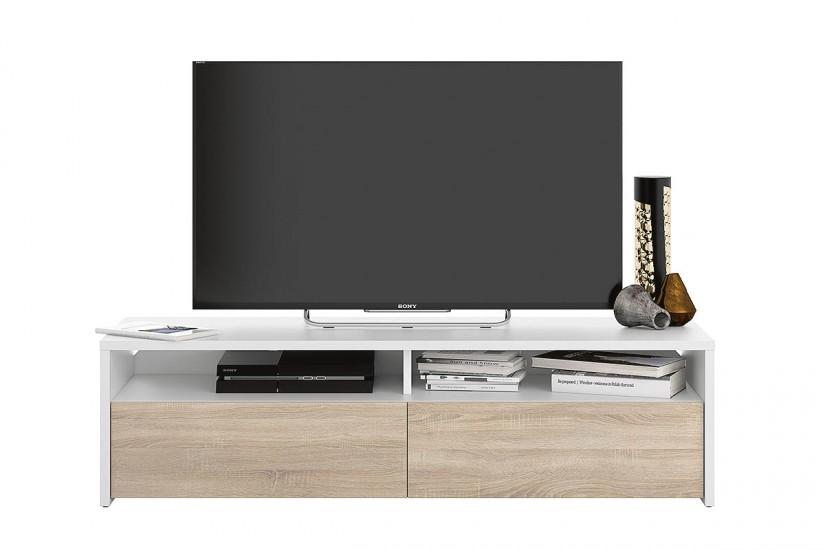 Mueble sal n tv kioto de colores blanco y roble canadian for Mueble salon 2 metros
