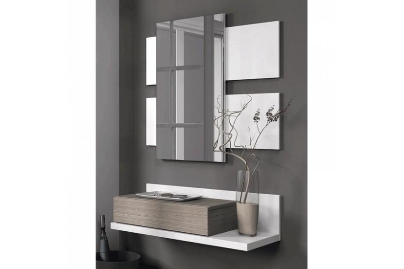 Recibidor tekkan 1 caj n 1 espejo blanco fresno al for Muebles de espejo