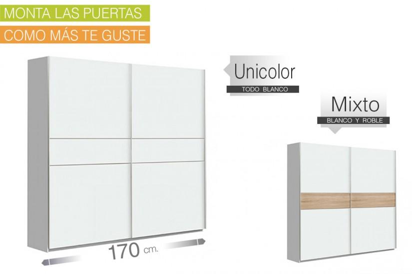 Armario 2 puertas correderas 170 cm en color blanco for Armario de dormitorio blanco barato