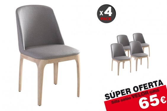 4 sillas salón VELOR Gris 65€ /u.