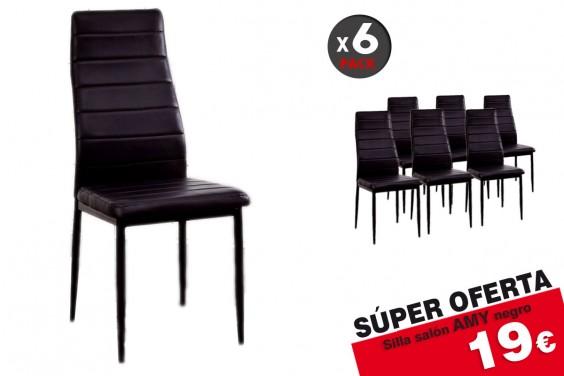 6 sillas salón AMY Negro 19€/u.