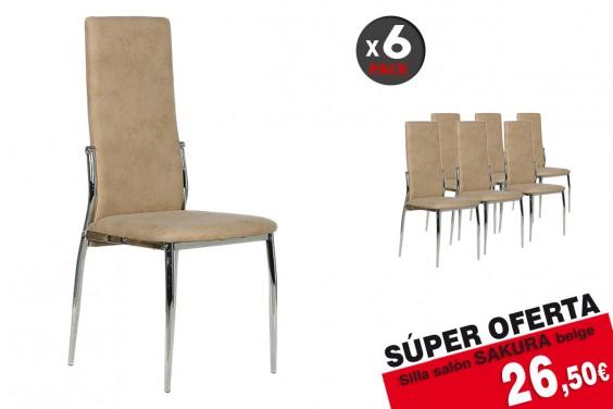 Pack 6 sillas salón SAKURA Beige