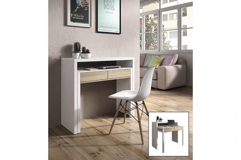 Mesa escritorio extensible 2 en 1 de c nsola a mesa - Escritorio salon ...
