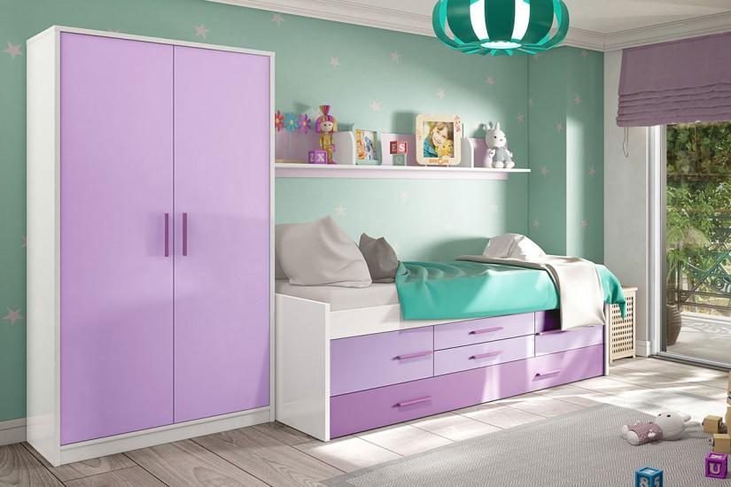 Cama doble iplay con somier 2 puertas y 2 cajones - Dormitorio juvenil doble cama ...