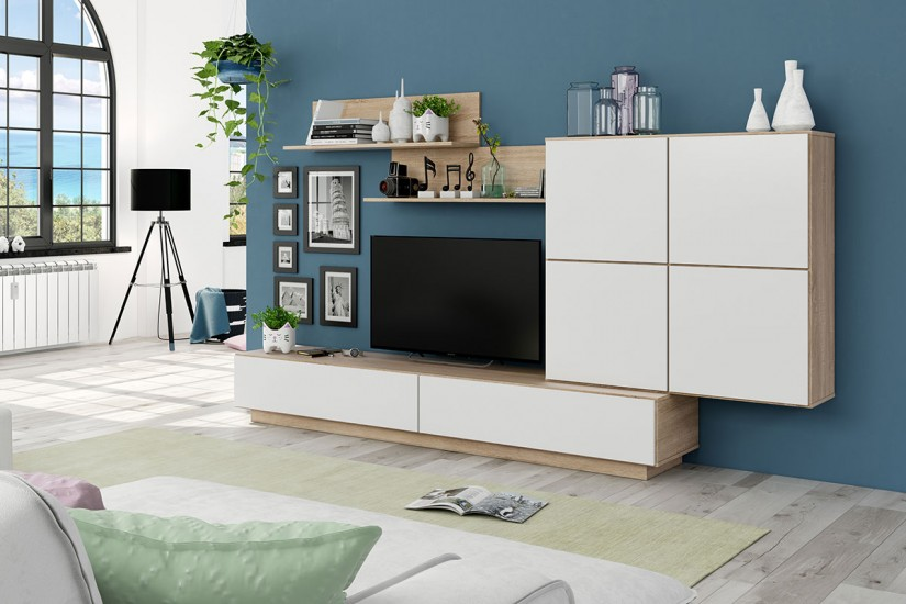 Mueble de sal n tv lue en color blanco y negro malla al for Muebles atrapalo