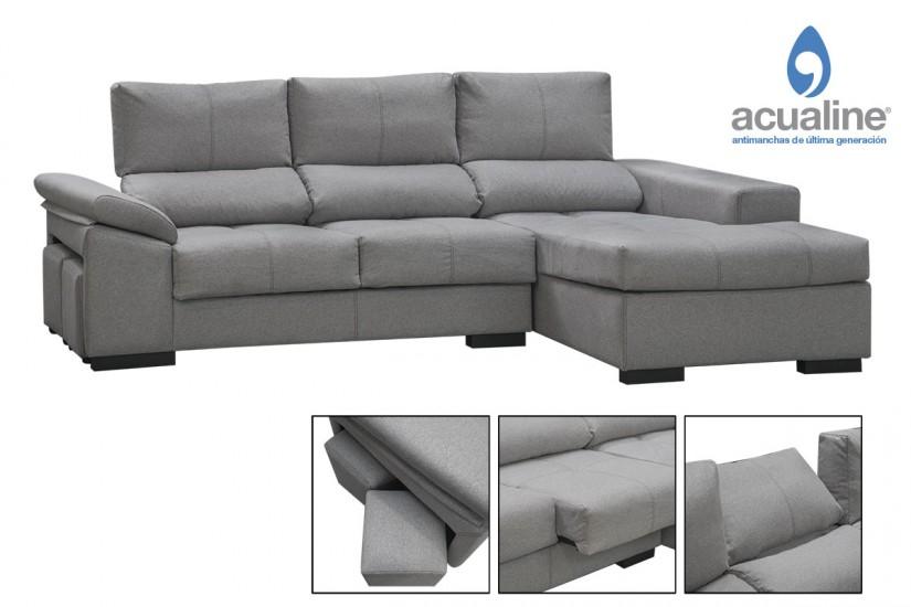 Sof chaiselonge alaska en color gris al mejor precio for Sofa gris claro color pared