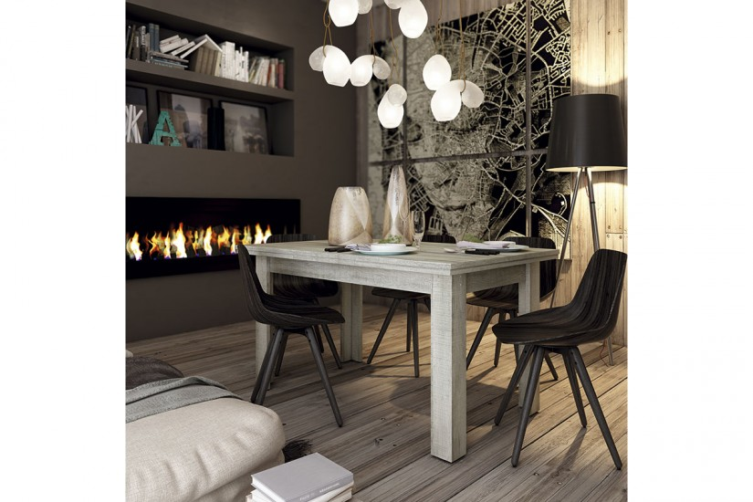 Mesa de comedor rectangular sidney extensible en color for Mesa rectangular extensible