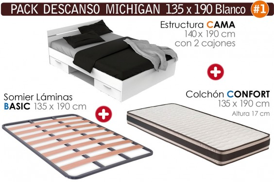 Pack AHORRO Descanso MICHIGAN Blanco 135x190