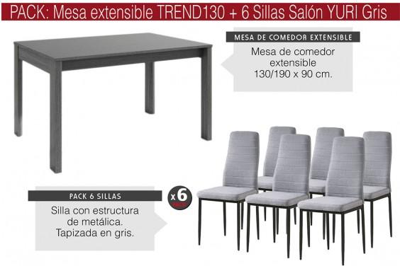 PACK Mesa TREND Gris + 6 Sillas YURI Gris/Negro