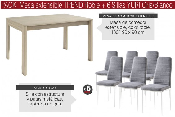 PACK Mesa TREND Roble + 6 Sillas YURI Gris/Blanca