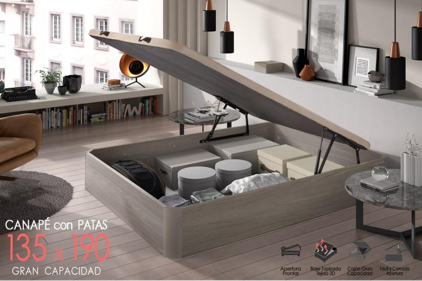 Canap xxl de 135x190 con base tapizada al mejor precio for Canape con zapatero