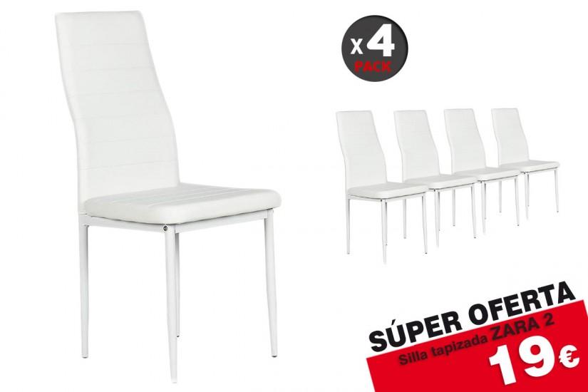 Conjunto de 4 sillas tapizadas en polipiel color blanco for Sillas salon tapizadas