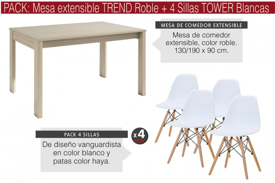 PACK Mesa TREND Roble + 4 Sillas TOWER Blancas diseño