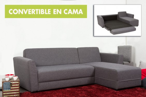 Chaiselongue Cama INGRID ANGLE Gris Reversible